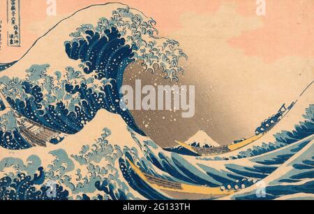 Katsushika Hokusai. Under the Wave off Kanagawa (Kanagawa oki nami ura), auch bekannt als die große Welle, aus der Serie - - 36 Ansichten des Mount