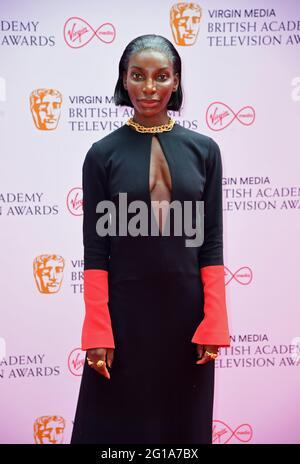 Michaela Coel kommt für die Virgin Media BAFTA TV Awards im TV Centre, Wood Lane, London. Bilddatum: Sonntag, 6. Juni 2021.