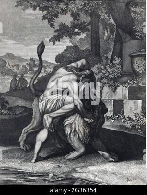 Religion, biblische Szene, Samson kämpft mit dem Löwen, Kupferstich, 18. Jahrhundert, ARTIST'S COPYRIGHT MUSS NICHT GELÖSCHT WERDEN