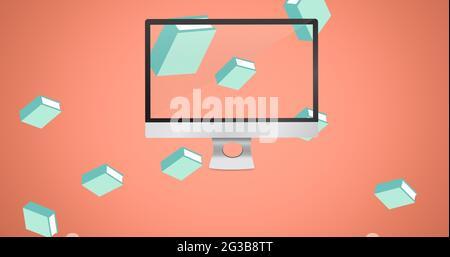 Komposition aus schwebenden blauen Büchern und Computerbildschirm auf rosa