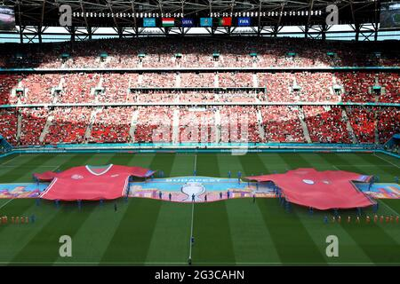 BUDAPEST, UNGARN - 15. JUNI: Eröffnungszeremonie vor dem Spiel beim EM 2020-Gruppenspiel der Gruppe F zwischen Ungarn und Portugal am 15. Juni 2021 in Budapest, Ungarn. (Foto nach MB-Medien)