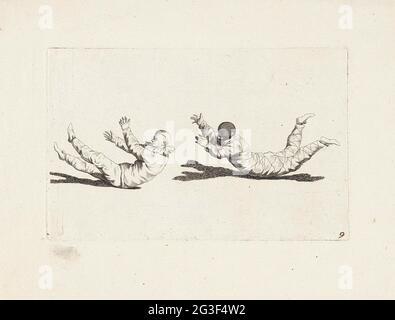 Harlekin und ein Clown bewegen sich, ohne ihre Arme und Beine zu benutzen; Kordeltänzer und Akrobaten; schöne Herabkunft von Akkordtänzen, Jumper und Haltungen. .