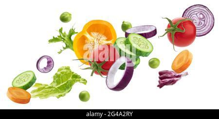 Fallendes Gemüse, frische Salatzutaten isoliert auf weißem Hintergrund