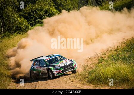 Mikolajki, Polen. Juni 2021. FIA ERC Rally, Polen. , . 1. Runde der FIA European Rally Championship 2021, vom 18. Bis 20. Juni 2021 in Mikolajki, Polen - Foto Bastien Roux/DPPI/LiveMedia Kredit: Unabhängige Fotoagentur/Alamy Live News