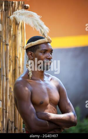 Lesedi Cultural Village, Südafrika - 4. November 2016: Zulu Warrior trägt Impala-Haut und Straußenfederkopfschmuck. Zulu ist einer von fünf Haupttriben