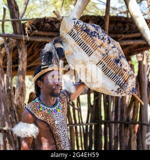 Lesedi Cultural Village, Südafrika - 4. November 2106: Zulu-Kriegerdemonstration. Tribesman in Zulu Kostüm aus Fellen mit Perlen Dekoration, ein fe