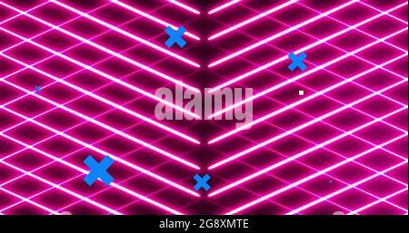 Bild von blauen Kreuzen über Netzwerk von Symbolen, rosa Neon-Gitter und Schaltung Netzwerk