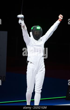 SATO Nozomi (JPN) Frauen-Pipi-Einzeltisch vom 64. JULI 2021, 24: Olympische Spiele von Tokio 2020 Fechten auf der Makuhari Messe in Tokio, Japan. Kredit: Enrico Calderoni/AFLO SPORT/Alamy Live Nachrichten