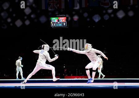 Matyas SZABO (GER) rechts gegen GU Bongil (Kor), Action, Fechten, Männer-Single Saebel, Männer-Säbel-Einzelperson am 24. Juli 2021 Olympische Sommerspiele 2020, ab 23. Juli. - 08.08.2021 in Tokio/Japan.