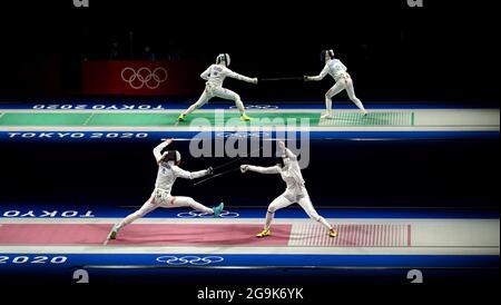 Ein Überblick über die Viertelfinalspiele des Women's Espee Team in der Makuhari Messe Halle B am vierten Tag der Olympischen Spiele 2020 in Tokio in Japan. Bilddatum: Dienstag, 27. Juli 2021.