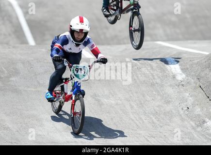 Der britische Bethany Shriever (zweite links) im BMX Racing Viertelfinale der Frauen führt am sechsten Tag der Olympischen Spiele 2020 in Tokio in Japan die 3 Heat 3 im Ariake Urban Sports Park durch. Bilddatum: Donnerstag, 29. Juli 2021.
