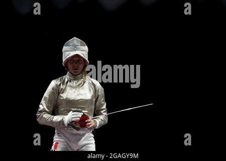Olympische Spiele 2020 in Tokio - Fechten - Damenteam Sabre - Halbfinale - Makuhari Messe Halle B - Chiba, Japan - 31. Juli 2021. Manon Brunet aus Frankreich reagiert auf REUTERS/Luisa Gonzalez