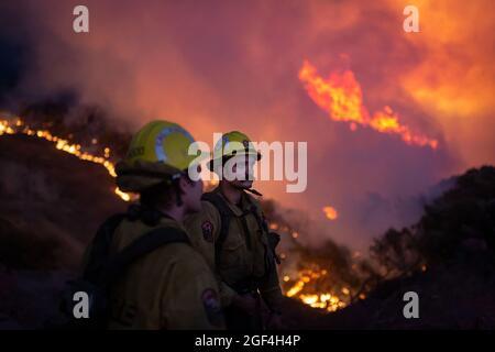 Caldor, Usa. August 2021. Das kalifornische Caldor-Feuer bewegt sich nach Osten in Richtung Lake Tahoe, während die Besatzungen weiterhin gegen ein Feuer kämpfen, das auf mehr als 170 Quadratmeilen mit nur 5 % Eindämmung angewachsen ist. (Foto: Michael Nigro/Pacific Press) Quelle: Pacific Press Media Production Corp./Alamy Live News