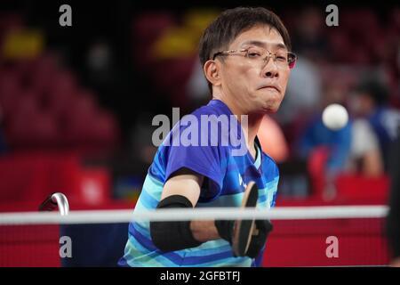 Tokio, Japan. August 2021. Nobuhiro Minami (JPN) Tischtennis: Herren-Singles der Klasse 2 Gruppe D während der Paralympischen Spiele von Tokio 2020 im Tokyo Metropolitan Gymnasium in Tokio, Japan.