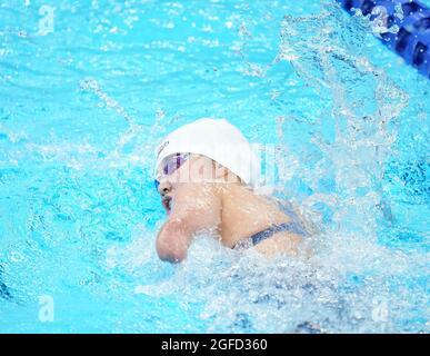 Tokio, Japan. August 2021. Xu Jialing aus China tritt beim 400 m langen Freistil-S9-Finale der Frau beim Schwimmen bei den Paralympischen Spielen 2020 in Tokio, Japan, am 25. August 2021 an. Quelle: Cai Yang/Xinhua/Alamy Live News