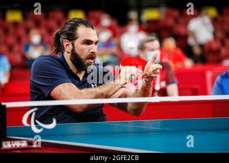 Tokio, Japan. August 2021. Tokio Paralympische Spiele 2020, 25. August: Tischtennis, Tokio, Japan. COPOLA Gabriel, Argentinien Kredit: Marco Ciccolella/Alamy Live News