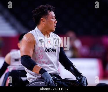 TOKIO, JAPAN. 25. August 2021. In Männer-Basketball mit Rollstuhl JPN gegen FRA während der Paralympischen Spiele von Tokio 2020 im Yoyogi-Nationalstadion am Mittwoch, den 25. August 2021 in TOKIO, JAPAN. Kredit: Taka G Wu/Alamy Live Nachrichten