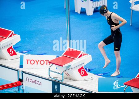 Tatyana Lebrun im Bild vor den Heats des 100-m-Brustschwimmen der Frauen am zweiten Tag der Paralympischen Spiele in Tokio 2020, Donnerstag