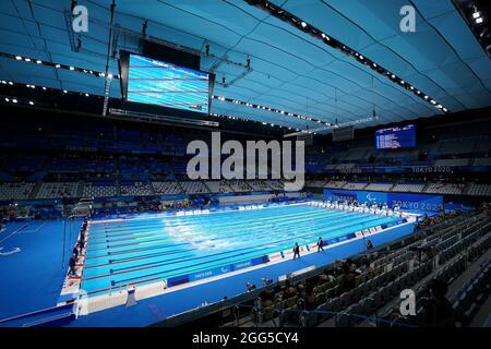 Gesamtansicht des 50-m-Freestyle-S13-Finales der Männer während des Schwimmens im Tokyo Aquatics Center am fünften Tag der Paralympischen Spiele in Tokio 2020 in Japan. Bilddatum: Sonntag, 29. August 2021.