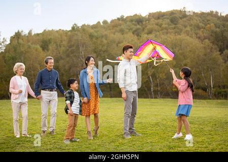 Glückliche Familie spielt auf der Wiese