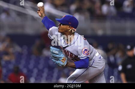 Marcus Stroman, der New Yorker Mets Pitcher, arbeitet am Donnerstag, dem 9. September 2021, während des zweiten Innings im LoanDepot Park in Miami gegen die Miami Marlins. (Foto von David Santiago/Miami Marlins/TNS/Sipa USA)
