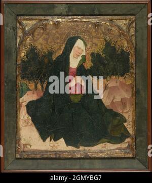 Die Jungfrau. Künstler: Spanischer (katalanischer) Maler (2. Viertel 15. Jahrhundert); Medium: Tempera und Öl auf Holz, Goldgrund; Abmessungen: Insgesamt 18 3/4