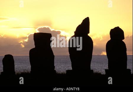 Rapa Nui Statuen von Ahu Tahai - Stockfoto