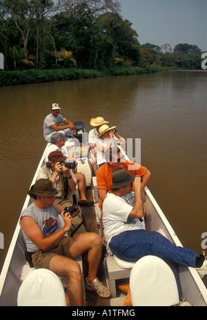 Vogelbeobachter, Ornithologen, Vogelbeobachtung, Wildtiere beobachten, Bootstour, Aquidauana Fluss, Kaiman ökologische - Stockfoto
