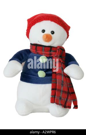 Schneemann gefüllt weiß mit roter Mütze und Schal pelzigen Spielzeug auf weißem Hintergrund Weihnachtsbaum festliche - Stockfoto