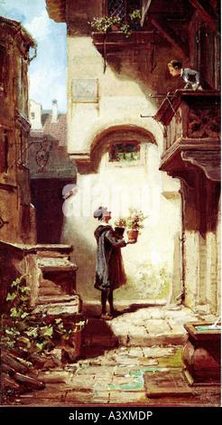 """""""Fine Arts, Spitzweg, Carl, (5.2.1808-23.9.1885), Malerei,""""Der Gratulant"""", Norden sächsischen Landesmuseum Hannover, - Stockfoto"""