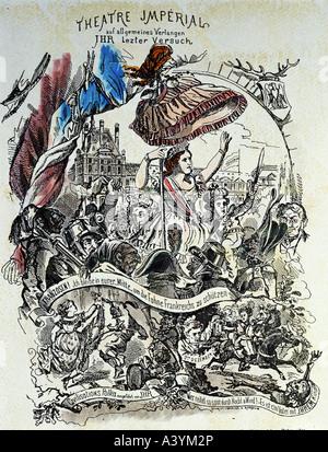 """Eugenie, 5.5.1826 - 11.7.1920, Kaiserin von Frankreich, 30.1.1853 - 4.9.1870,""Théatre Impérial"", Broschüre, Farbe - Stockfoto"