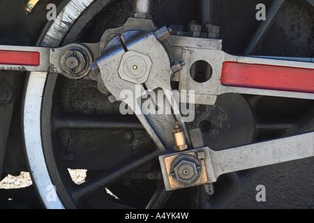 Schuss von Eisenbahnrädern Dampf hautnah - Stockfoto