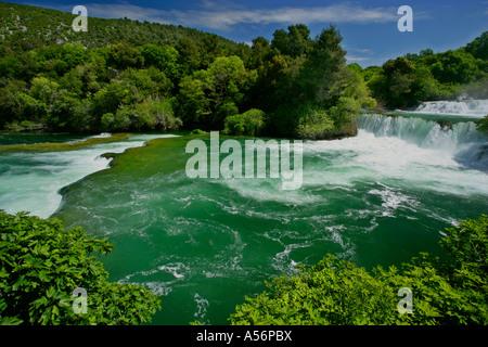 Kaskaden des Skradinski Buk Krka Nationalpark Fernsehreihe Wasserfälle Skradinski Buk Krka Nationalpark Kroatien - Stockfoto