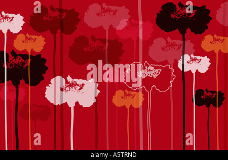 Grafische Blumen gemusterte Abbildung. - Stockfoto