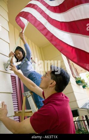 American US Flag zu Hause - Stockfoto
