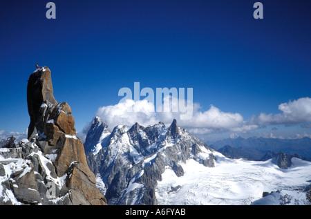 Bergsteiger auf die Aiguille du Midi Chamonix Frankreich - Stockfoto