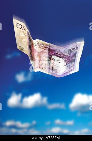 UK zwanzig Pfund Banknote Himmel fliegen - Stockfoto