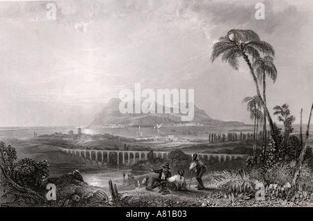 Gibraltar gesehen von Algeciras im 19. Jahrhundert - Stockfoto