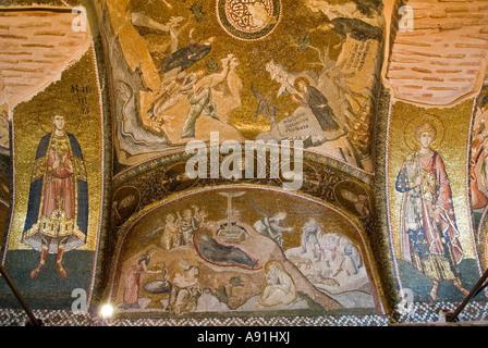Mosaik der Szene der Geburt Jesu, Chora Kloster Istanbul. - Stockfoto