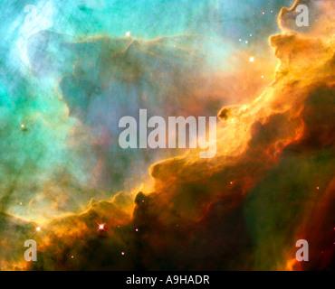 Ein Sturm der turbulenten Gase in die Omega Swan Nebel M17 vom Hubble-Weltraumteleskop - Stockfoto