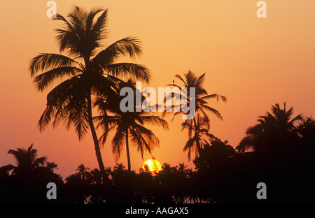 Sunset Colva Beach Goa Indien - Stockfoto