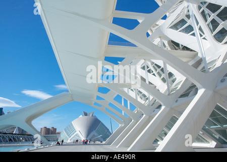 Principe Felipe Wissenschaftsmuseum mit Hemisferic im Hintergrund, Stadt der Künste und Wissenschaften, Valencia, - Stockfoto