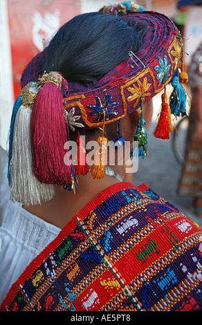 Guatemala Schönheitskönigin von San Sebastian Retalhuleu in der Tracht ihrer Gemeinschaft - Stockfoto