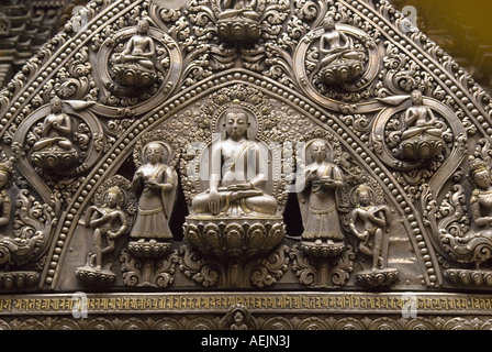 Historischen Silberschmuck, Goldene Tempel Kwa Bahal, Patan, Kathmandu, Nepal - Stockfoto