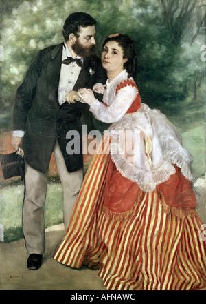 """Fine Arts, Renoir, Auguste (25.2.1841 - 3.12.1919), Gemälde""The Sisley Family"", 1868, Öl auf Leinwand, Wallraf - Stockfoto"