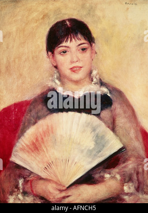 """""""Fine Arts, Renoir, Auguste (25.2.1841 - 3.12.1919), Malerei 'Mädchen mit Fächer', 1881, Öl auf Leinwand, 65 x 50 - Stockfoto"""