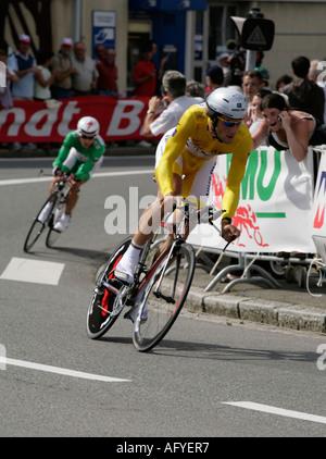 Tom Boonen gelbe Trikot führt Robbie McEwen Punkten führend in grüne Tour De France 2006 Rennes Zeit Erprobungsphase - Stockfoto