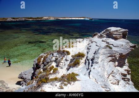 Schnorchler, ins Wasser Fay hat die Bucht Rottnest Insel Western Australia - Stockfoto
