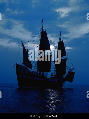 Dies ist ein Nachbau des Schiffes Mayflower II die erste Abfahrt im Jahre 1620 zeigt als die Pilger in die neue - Stockfoto