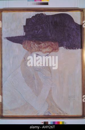 """""""Fine Arts, Klimt, Gustav, (1862-1918), Malerei,""""Der Schwarze Federhut"""", (""""die schwarze Feder Hut""""), 1910, 79 cm - Stockfoto"""